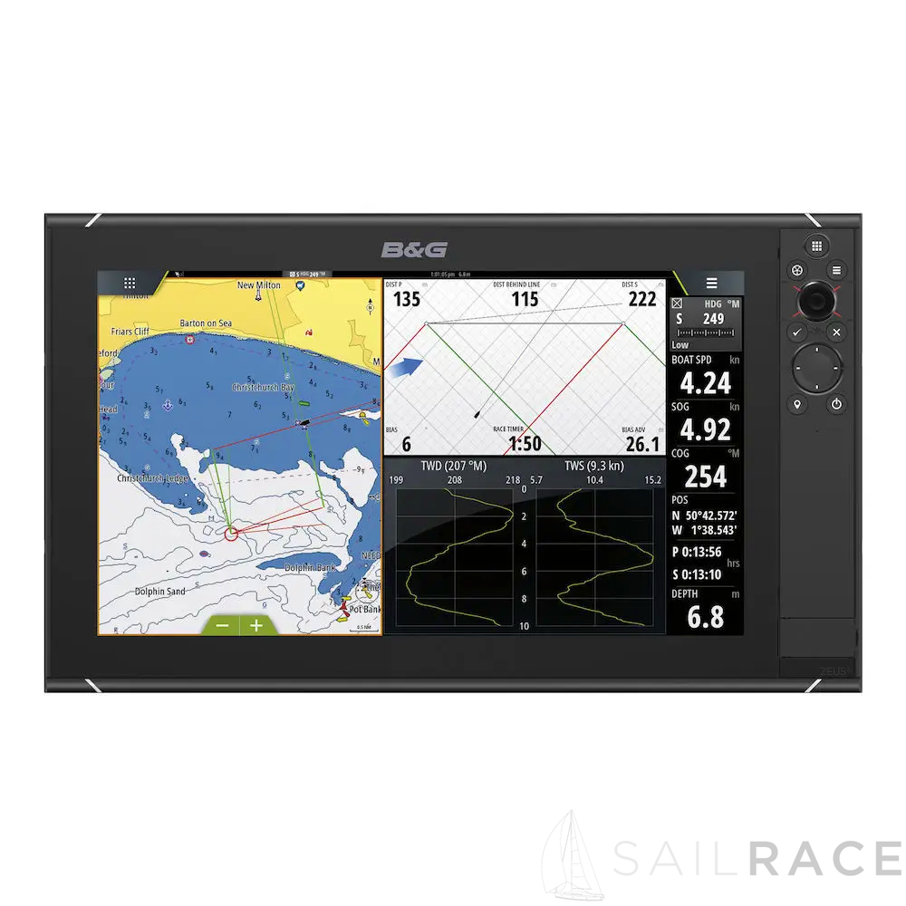 B&G The Zeus³-16 is an easy-to-use chartplotter navigation system for blue water cruisers and regatta racers