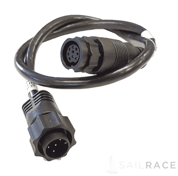 Navico Connects a non-CHIRP transducer with a 9 Pin black connector to the older 7 pin blue sockets on displays and echosounder modules